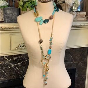 Pair of statement turquoise costume necklaces
